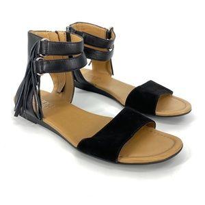 Franco Sarto Greer Leather Black Gladiator Sandal